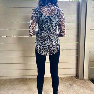 Leopard print blouse, size S
